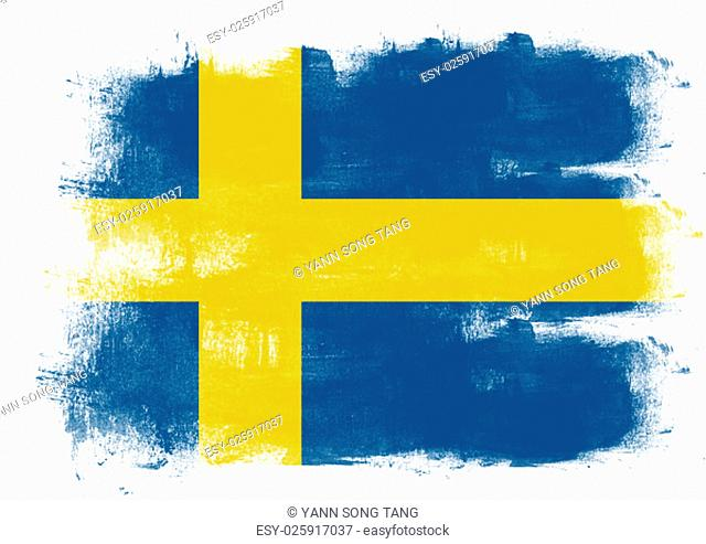 Flag of Sweden painted with brush on solid background