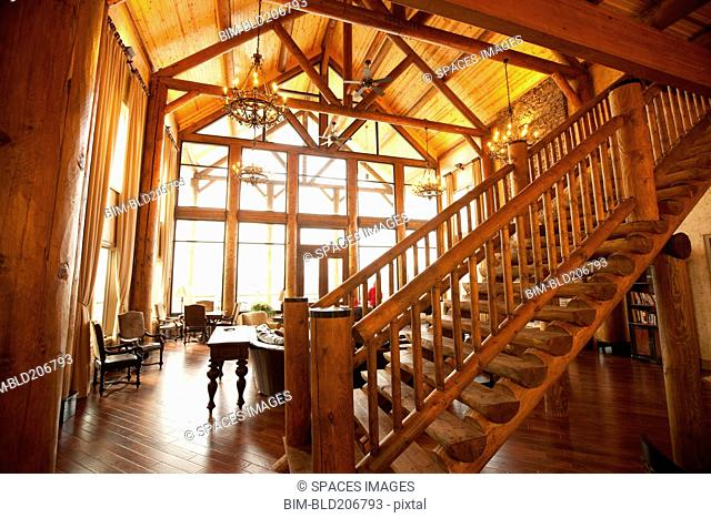 Wooden ceiling and stairs in luxury living room