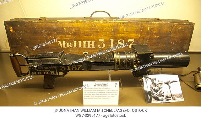 A Thornton-Pickard 'Photo Gun' Mk IIIH on display at the Montrose Air Station Museum in Scotland. These were used for aerial reconaissance in World War I by the...