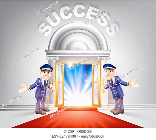 Red carpet door to Success