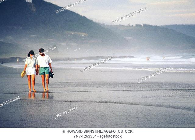 Couple wandering along misty beach