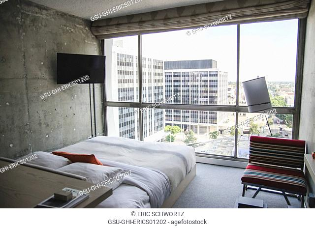 Interior View of Guest Room at The Line Hotel, Los Angeles, California, USA