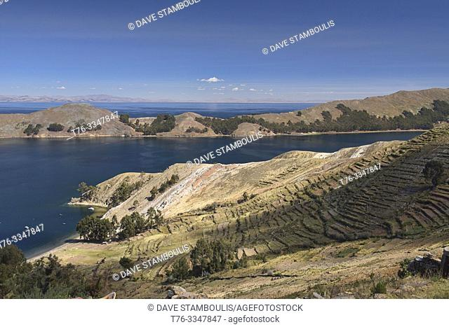 Traditional Inca terracing on Isla del Sol, Lake Titicaca, Bolivia