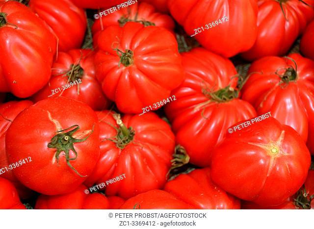Tomatoes on the fruit and vegetable market Naschmarkt in Vienna - Austria
