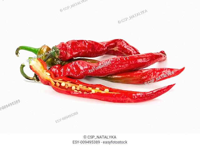 Red hot chilli pepper isolated on white