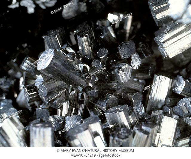Manganite (manganese oxide hydroxide) and is characterized by short prismatic crystals. Specimen from the Natural History Museum, London