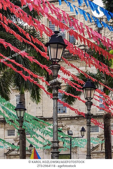 Sao Joao Festival Decorations on the Terreiro de Jesus Square, Old Town, Salvador, State of Bahia, Brazil