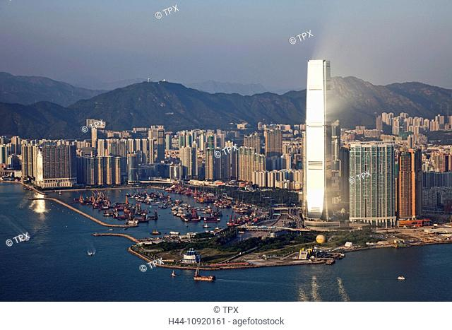 Asia, China, Hong Kong, Victoria Peak, View, Peak, Victoria Harbour, Kowloon, West Kowloon, International Commerce Centre, ICC, Harbour, Skyscrapers, Modern