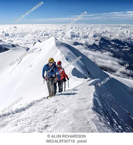 Italy, Gressoney, Alps, Castor, mountaineers