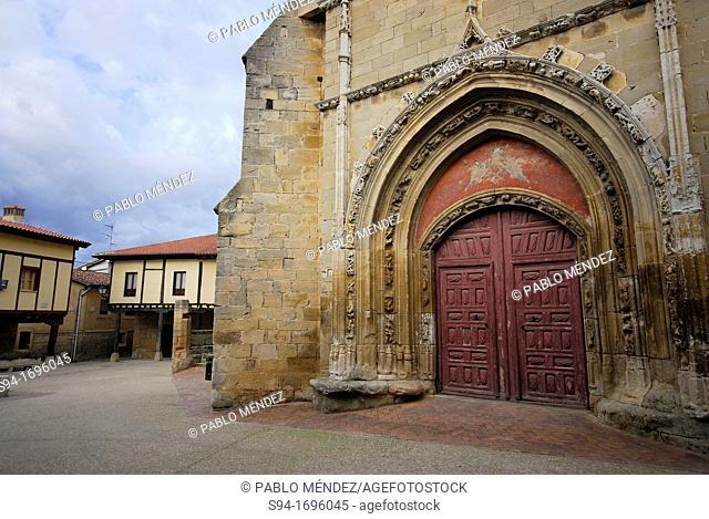 Fortified church of San Pedro Apostol in Santa Gadea del Cid, Burgos, Spain