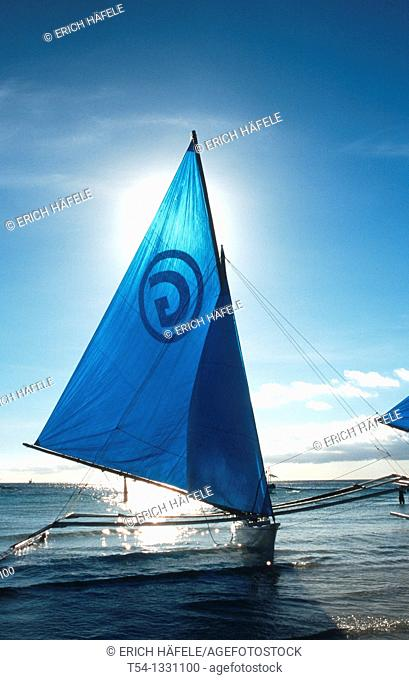 Sailing Boat at White Beach Boracay