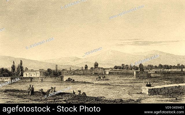 General panoramic view of Shiraz, a city located southwest of Iran, capital of the province of Fars. Iran. Old steel engraved antique print
