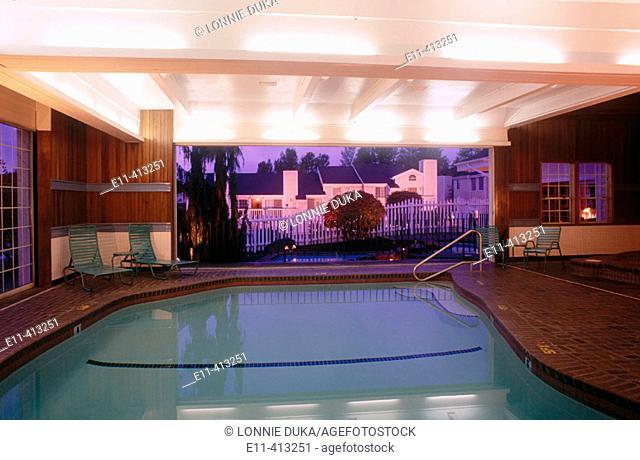 Condominium home pool, complex Tukwila. Washington, USA