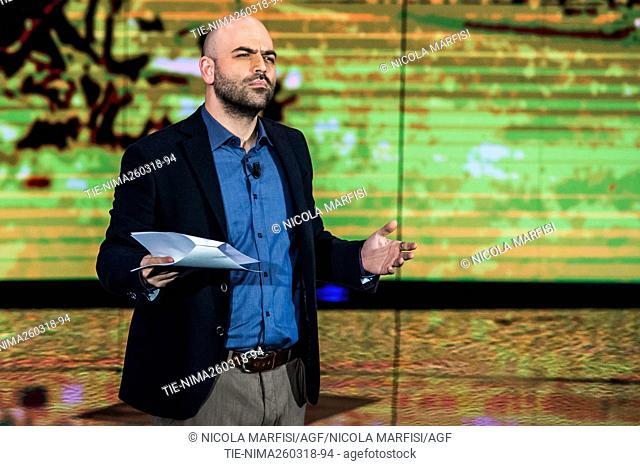 The writer Roberto Saviano during the tv show Che tempo che fa, Milan, ITALY-25-03-2018