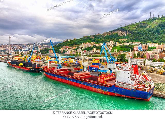 Ships at the Black Sea port facilities at Trabzon, Turkey