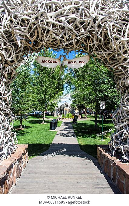 Monument of deer bones at a park in Jackson Hole, Wyoming, USA