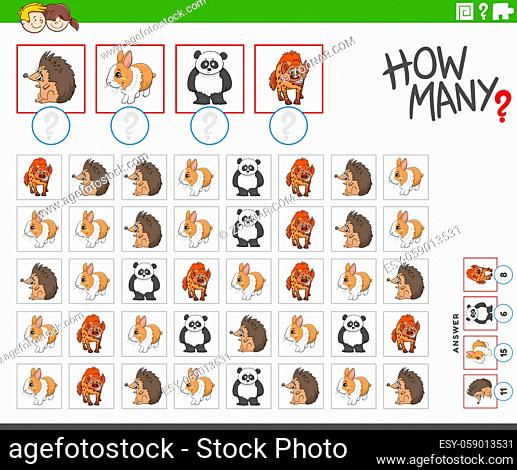 Illustration of educational counting task for children with cartoon animal characters
