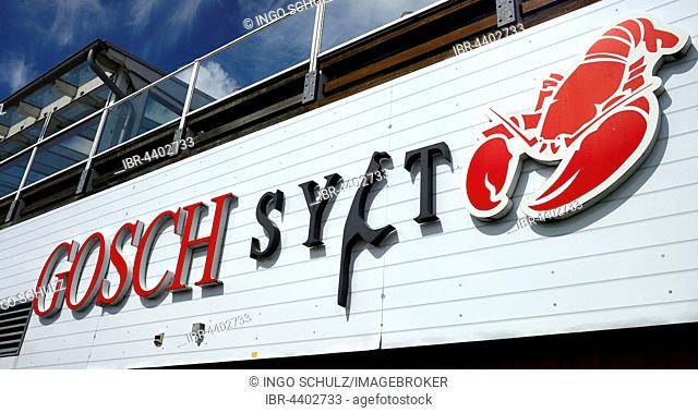 Lettering of the fish restaurant Gosch, port of List, Sylt, North Frisian Islands, North Frisia, Schleswig-Holstein, Germany