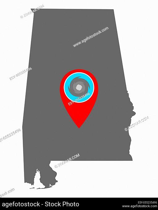 Karte von Alabama und Pin mit Hurrikanwarnung - Map of Alabama and pin with hurricane warning
