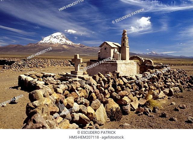 Bolivia, Oruro department, Sajama province, Sajama National Park, small scale church at the foot of Sajama stratovolcano 6542 m