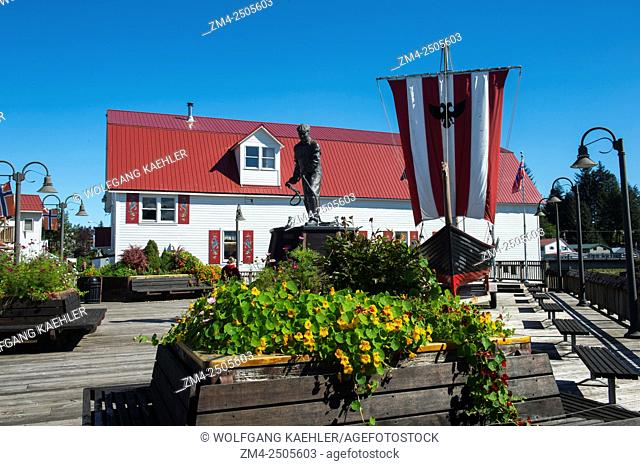 View of Bojer Wikan Fishermen's Memorial Park with the Sons of Norway Hall in Petersburg, AlaskaÂ's Little Norway which was founded more than 100 years ago by...