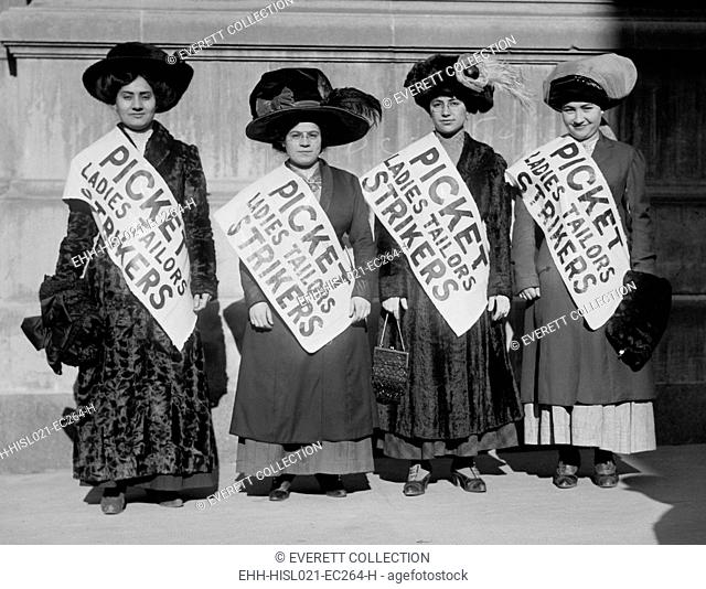Strike pickets from Ladies Tailors, during the New York shirtwaist strike of 1909 which began after a labor dispute at the Triangle Shirtwaist factory