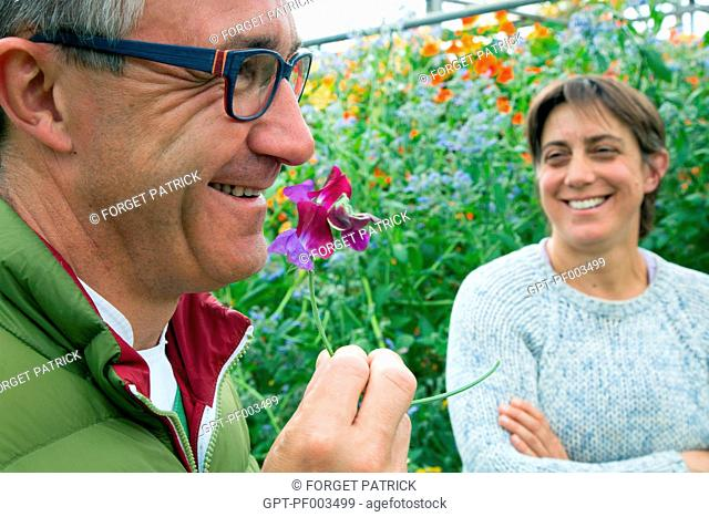 LAURENT CLEMENT, MICHELIN-STARRED CHEF AT THE COURS GABRIEL AND VIRGINIE BOUCHARD, PRODUCER OF EDIBLE FLOWERS, FARM PRODUCE OF THE LAND OF THE EURE-ET-LOIR