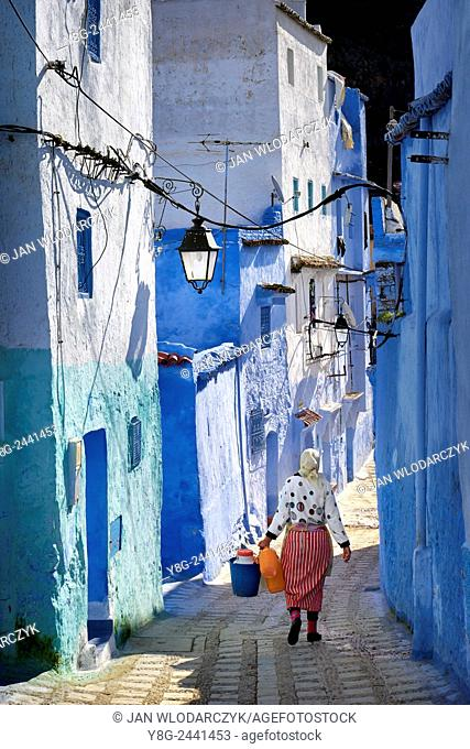 Chefchaouen (Chaouen), houses in this city are painted on blue color. Morocco