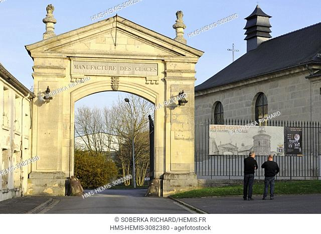 France, Aisne, Saint Gobain, Royal manufacture of mirrors, two men at the entrance