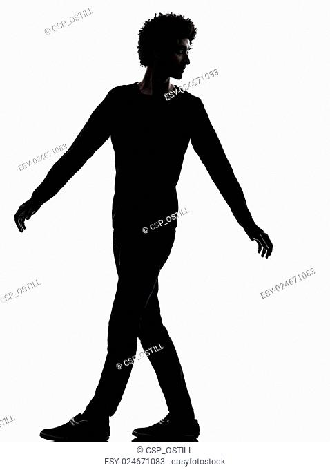 handsome african young man looking back silhouette