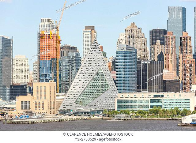 Part of the evolving mid-town skyline, including pyramidal VIA 57 West, on West 57th street, in New York City