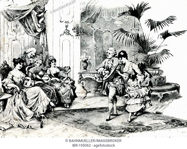 Courtly dancing in rococo costumes postcard about 1900