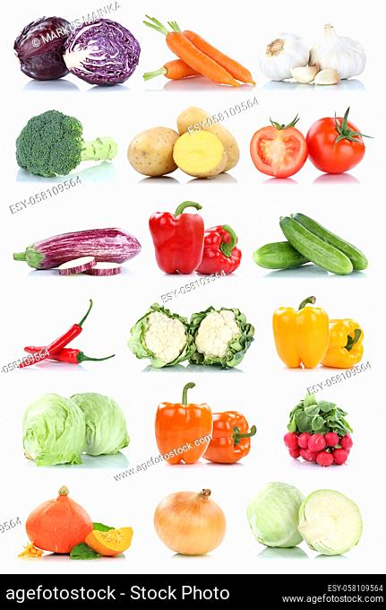 Collection of vegetables tomatoes carrots lettuce onion fresh food vegetable isolated on a white background