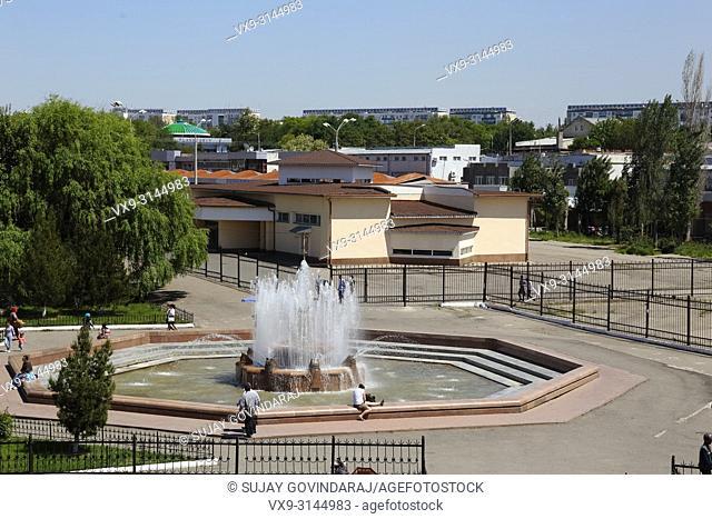 Tashkent, Uzbekistan - May 01, 2017: Fountainside view of Chorsu market in the city of Tashkent