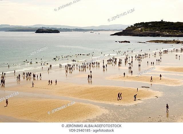 Sardinero beach in summer. Santander, Cantabrian Sea, Cantabria, Spain, Europe