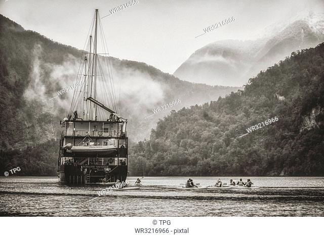Boat on the river;New Zealand