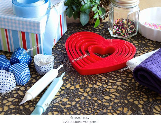 Heart-shaped baking supplies