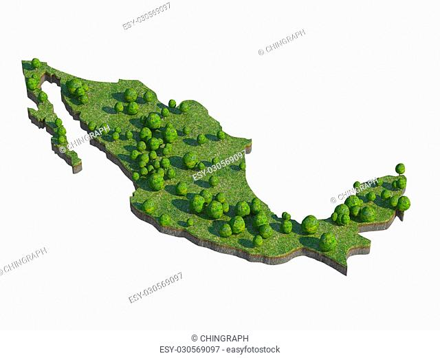3d render of mexico map section cut isolated on white with clipping path