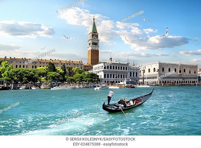 Campanile di San Marco and Canal Grande in Venice, Italy