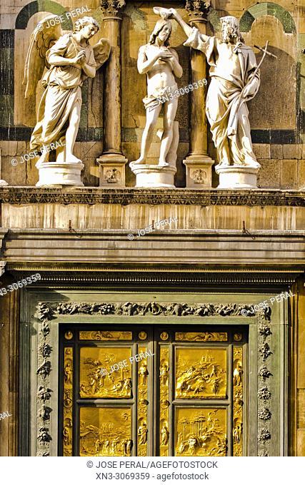 East Baptistery doors, Gates of Paradise, by Lorenzo Ghiberti, gilded bronze doors, Porta del Paradiso, Battistero di San Giovanni, Baptistery of St