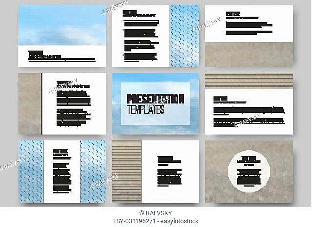 Set of 9 templates for presentation slides. Dry land and blue sky with clouds. Abstract multicolored backgrounds. Natural geometrical patterns