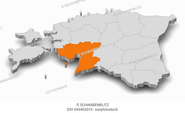 Map of Estonia as a gray piece, Paernu is highlighted in orange