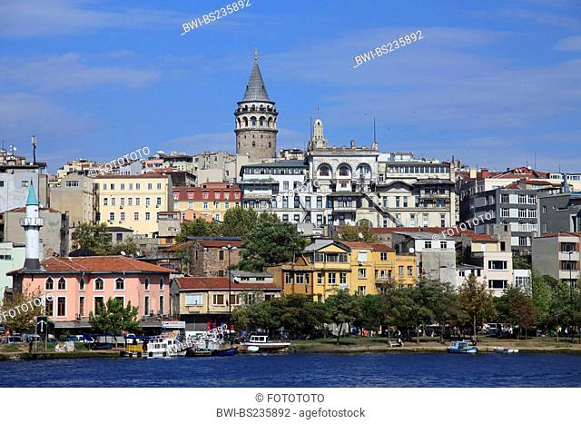district of Istanbul over the Bosphorus with Galata Tower, Turkey, Istanbul, Beyoglu