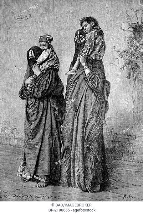 Egyptians, women and their children, historic wood engraving, about 1897
