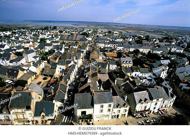 France, Loire Atlantique, Batz sur Mer Guerande Peninsula, panoramic view over the Salt Marshes from the steeple of Saint Guenole church