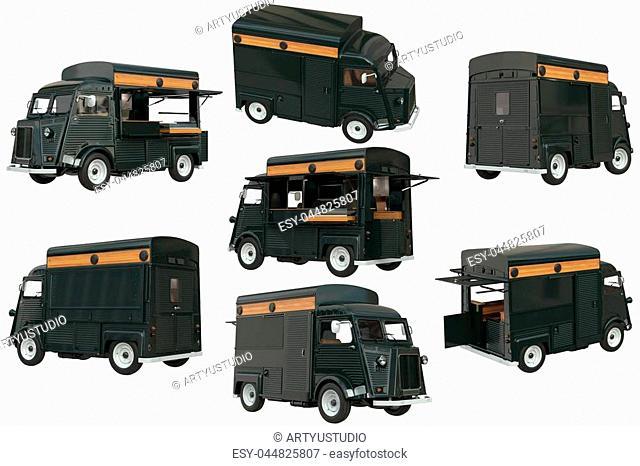 Food truck eatery cafe on wheels set, dark green color. 3D rendering