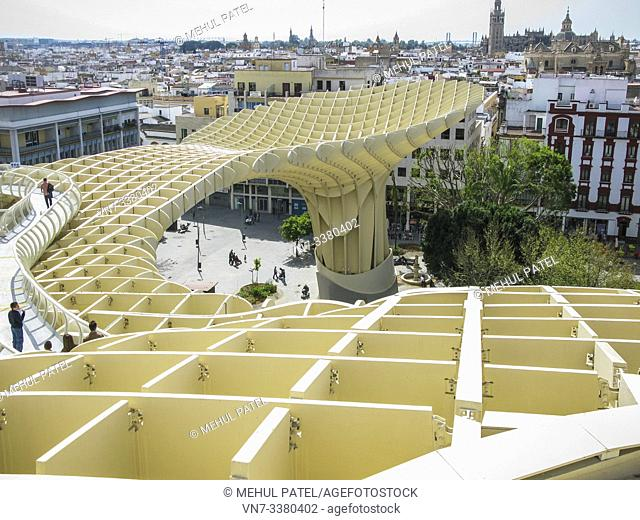 Walkway and viewpoint from las Setas de Sevilla at the Plaza de Encarnación in Seville, Andalucia, Spain. Las Setas de Sevilla also known as Metropol Parasol is...