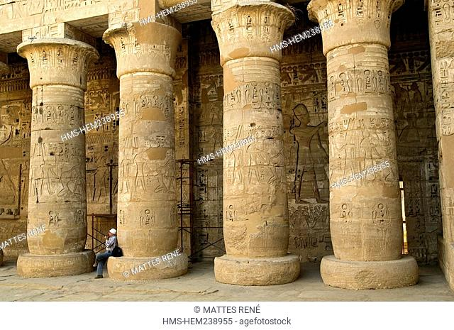 Egypt, Upper Egypt, Nile Valley, surroundings of Luxor, Thebes Necropolis listed as World Heritage by UNESCO, Western area, Medinet Habou, Ramses III's Temple