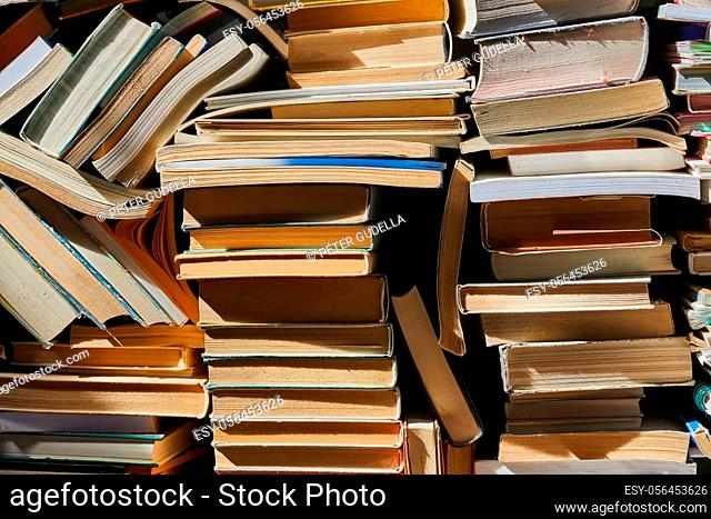Pile of old books in stacked up