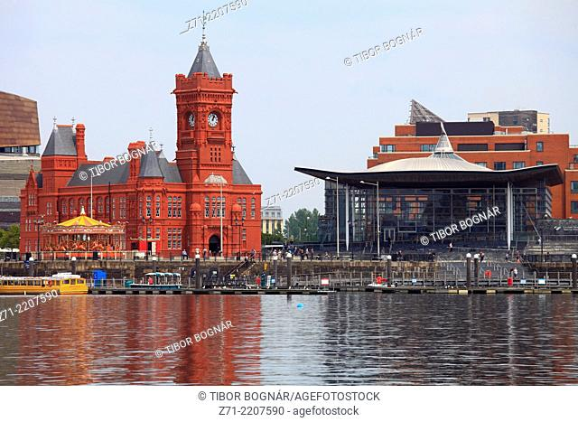UK, Wales, Cardiff, Bay, Pierhead Building, National Assembly for Wales,